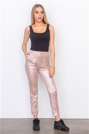 Blush Faux Suede Jogger Pants