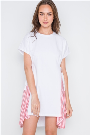 White Red Contrast Sides Stripe Short Sleeve Shirt Dress