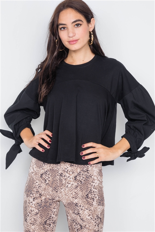 Black Puff Sleeve Flare Hem Cotton Top