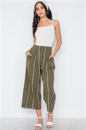 Olive Stripe High-Waist Wide Leg Boho Pants