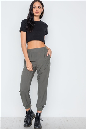 Olive High Waist Casual Side Pockets Pants