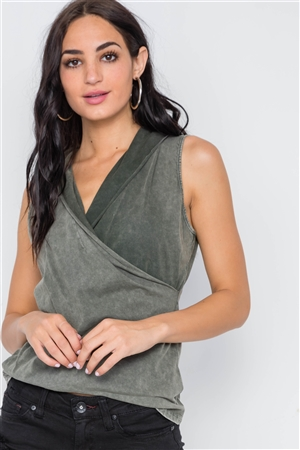 Army Olive Surplice Neck Sleeveless Top