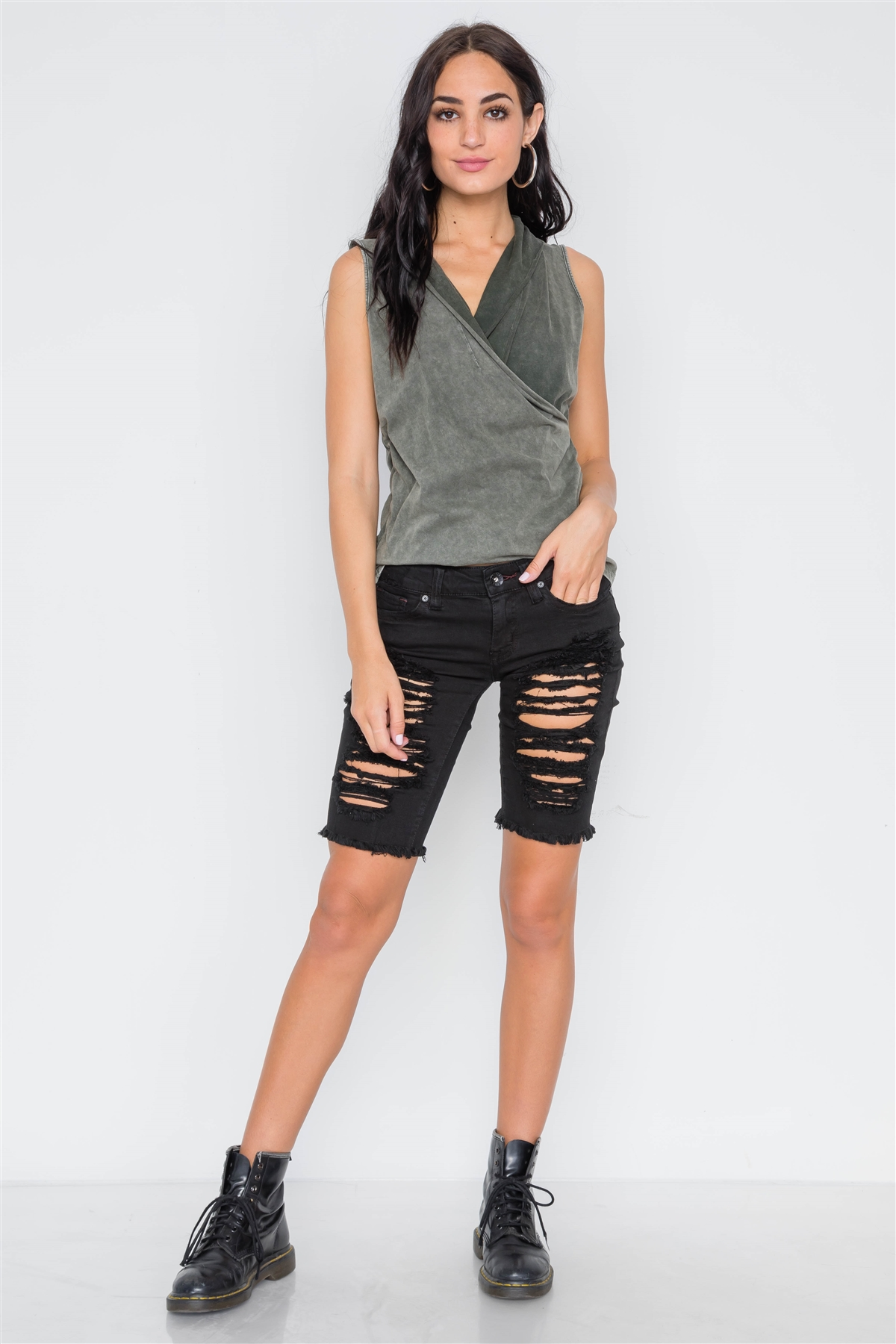 d4382aeb86d9d9 Army Olive Surplice Neck Sleeveless Top /3-2-1