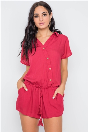 Raspberry Short Sleeve Relaxed Fit Romper