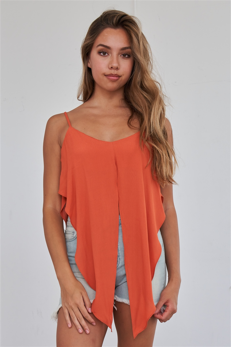 Rust Orange Wrap Waist Cami Top