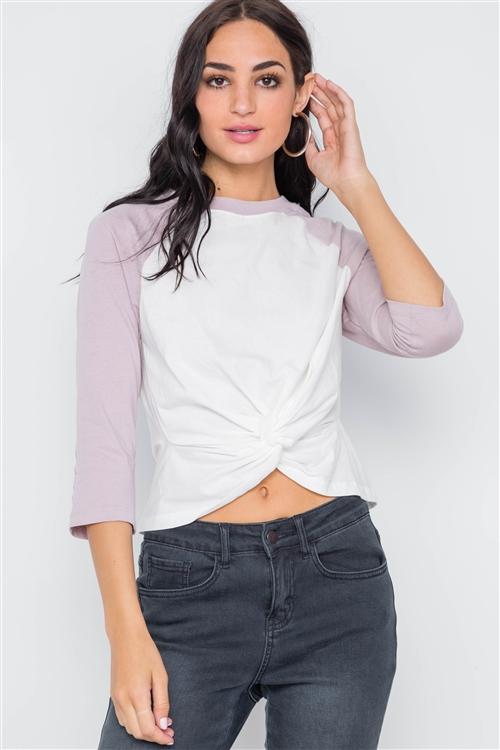 Mauve 3/4 Sleeves Front Twist Crop Top