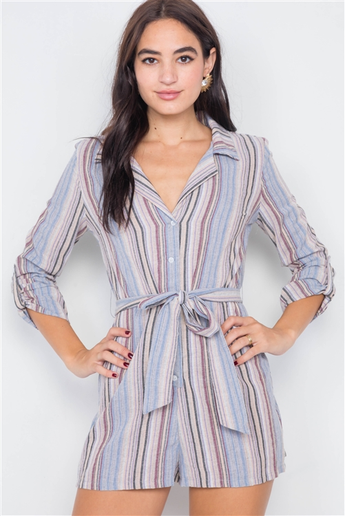 Lilac Taupe Cotton V-Neck Multi Stripe Short Romper
