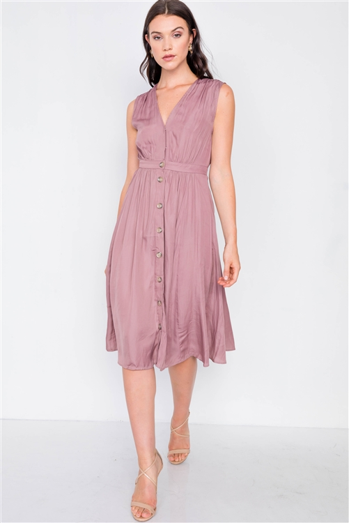 Mauve A-Line Pleated Flowy Satin Midi Dress