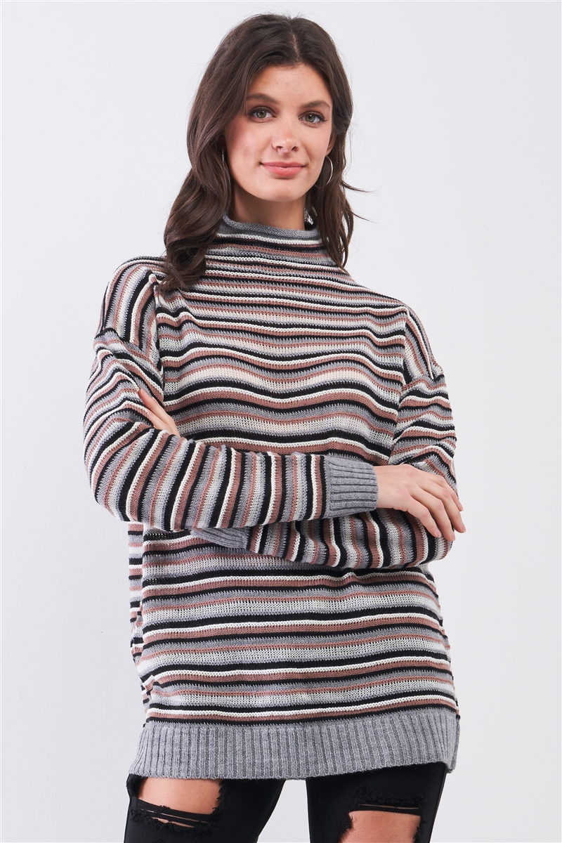 Grey Multi Woolen Stripped Turtle Neck Long Sleeve Loose Fit Multi-Knit Sweaters /3-2-1