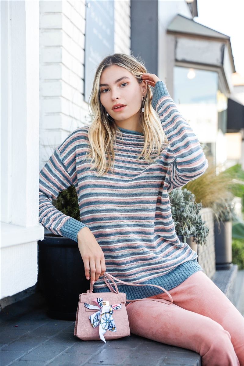 Teal Pink Multi Woolen Stripped Turtle Neck Long Sleeve Loose Fit Multi-Knit Sweaters /3-2-1