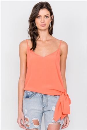 Tangerine Self Tie Side Sash V-Neck Casual Cami Top