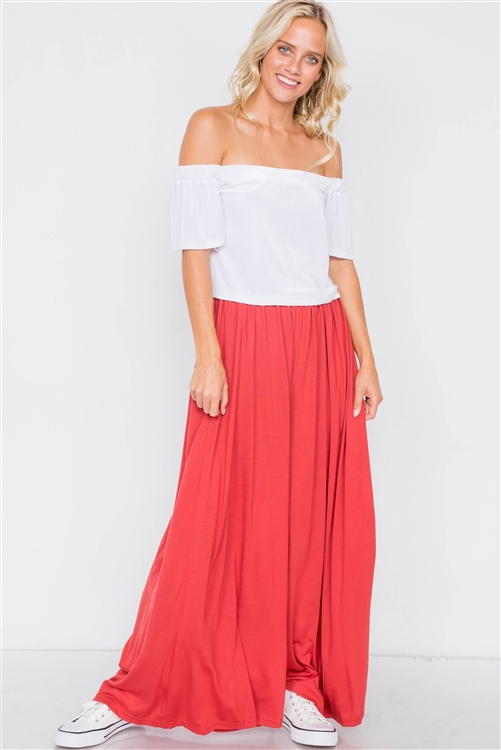 Light Brick Wide Leg Maxi Hipster High Waist Pant