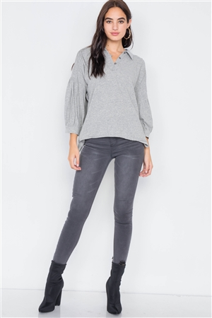 Heather Grey Cotton Raw Hem V-Neck Cinched Top