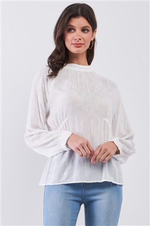 Boho White Circle Pattern Mock Neck Long Sleeve Blouse Top /3-2-1