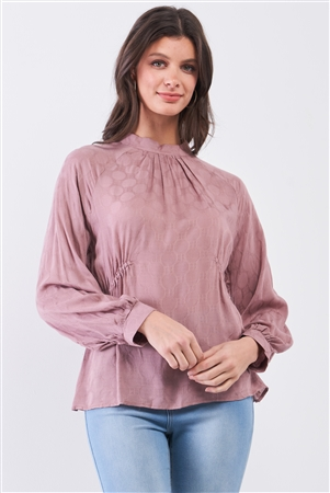 Boho Wood Rose Circle Pattern Mock Neck Long Sleeve Blouse Top /3-2-1