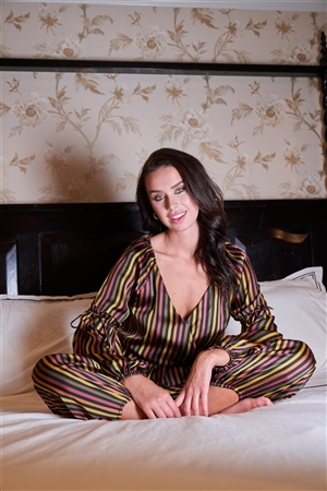 Satin Multi Stripe V-Neck Peplum Top & Harem Ankle Pant Set