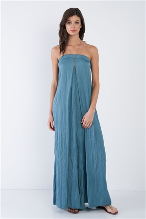 Satin Misty Teal Blue Sleeveless Wide Leg Relaxed Fit Jumpsuit