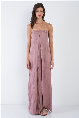Wood Rose Sleeveless Wide Leg Relaxed Fit Jumpsuit