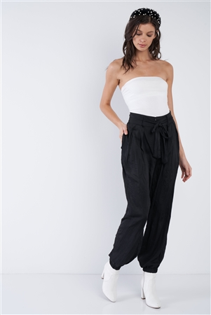 Black Crushed Satin Cinched Ankle Cuff Self Tie Waist Sash Pants