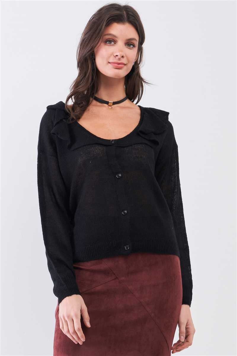 Black Round Neck Bertha Collar Button-Front Cardigan /3-2-1