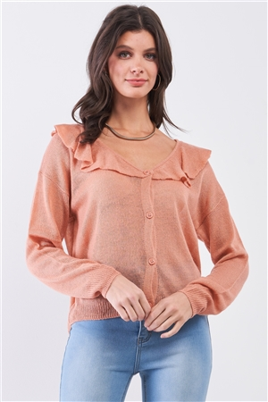 Latte Round Neck Bertha Collar Button-Front Cardigan /3-2-1