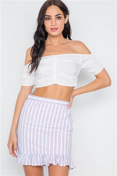 Blue Red Stripe High Waist Ruffle Hem Mini Skirt