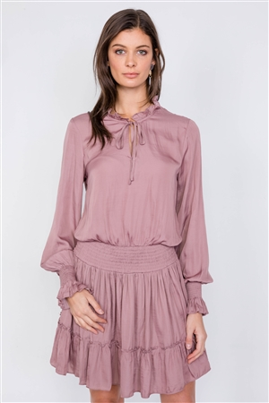 Dusty Mauve Satin Boho V-Neck Tie Flounce Trim Mini Dress