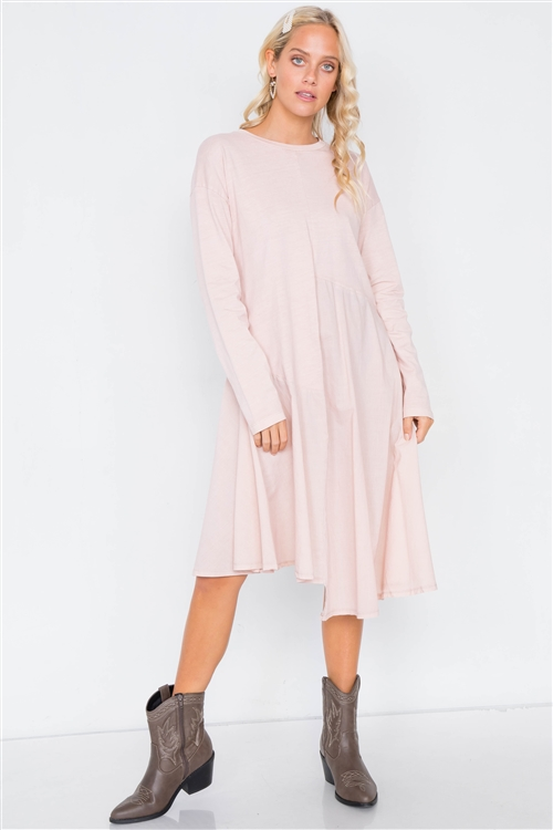 Dusty Pink Cotton Drop Shoulder Asymmetrical Midi Dress