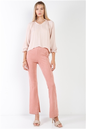 Blush Suede High-Waist Vintage Raw Hem Flare Pants