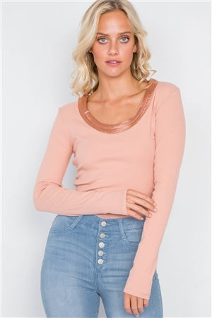 Baked Peach Satin Scoop Neck Ribbed Long Sleeve Top