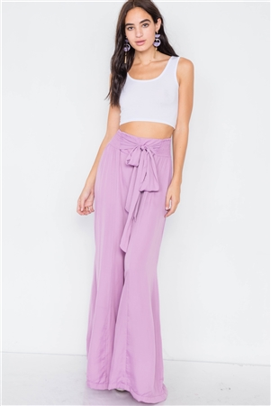 Satin Lilac Wide Flare Leg Hight-Waist Pants