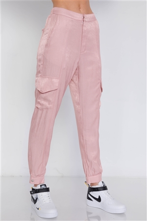Mauve Satin Cargo Cinched Ankle Relaxed Fit Jogger