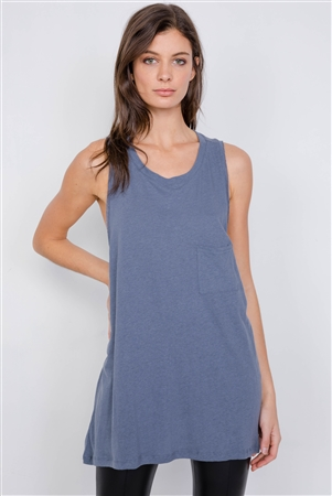 Washed Denim Semi-Sheer Athletic Racerback Top