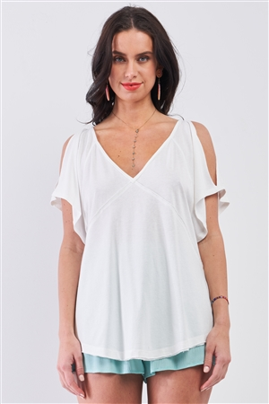 White Cut-Out Shoulder Raw Hem Detail V-Neck Loose Fit Top /3-2-1