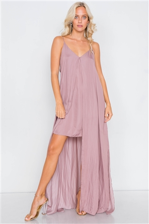 Dusty Mauve V-Neck Satin Cape Mini Dress