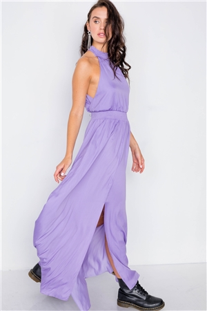 Halter Lavender Slit Maxi Dress