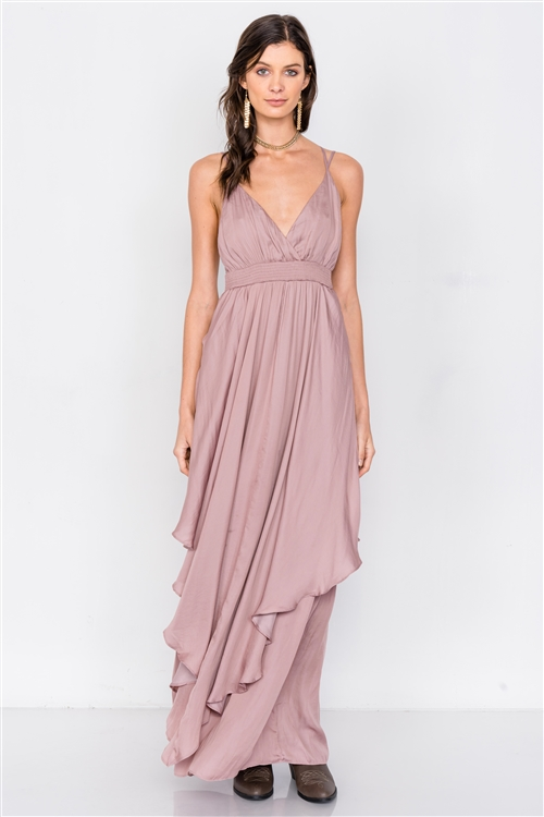 Dusty Mauve Criss Cross Cami Straps V-Neck Maxi Dress