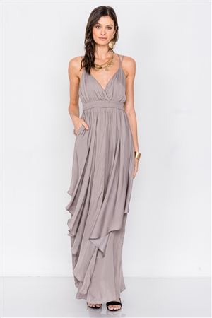 Silver Olive Criss Cross Cami Straps V-Neck Maxi Dress