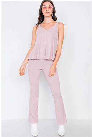 Dusty Rose Suede Corduroy V-Neck Loose Top & High-Waisted Flare Plant Set
