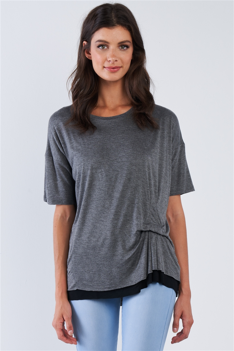 Charcoal Layered Soft Cotton Top