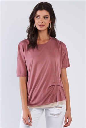 Smoke Rose Layered Soft Cotton Top