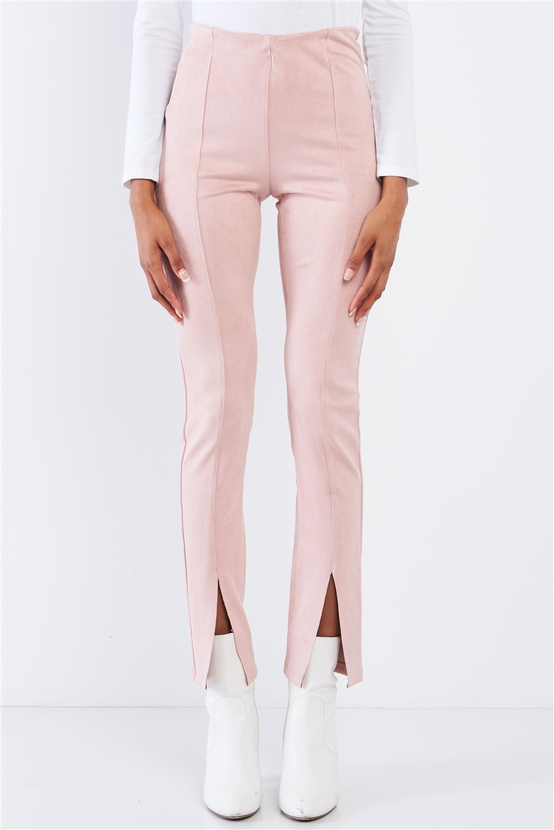Winter Blush Pink Suede High Waist Tight Fit Front Bottom Slit Accent Ankle Length Pants/3-2-1