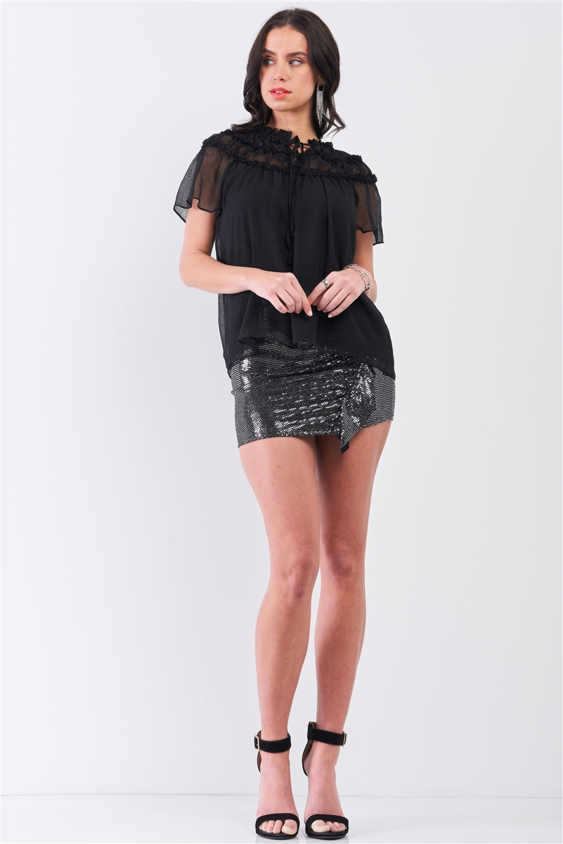 Black Short Angel Sleeve Ruffle Top With Double Self-Tie Drawstring Elasticated Round Neck Loose Fit Top /2-2-1