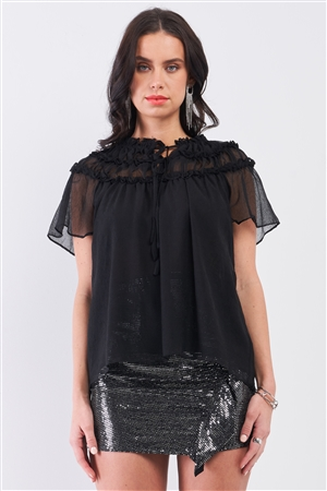 Black Short Angel Sleeve Ruffle Top With Double Self-Tie Drawstring Elasticated Round Neck Loose Fit Top /3-2-1