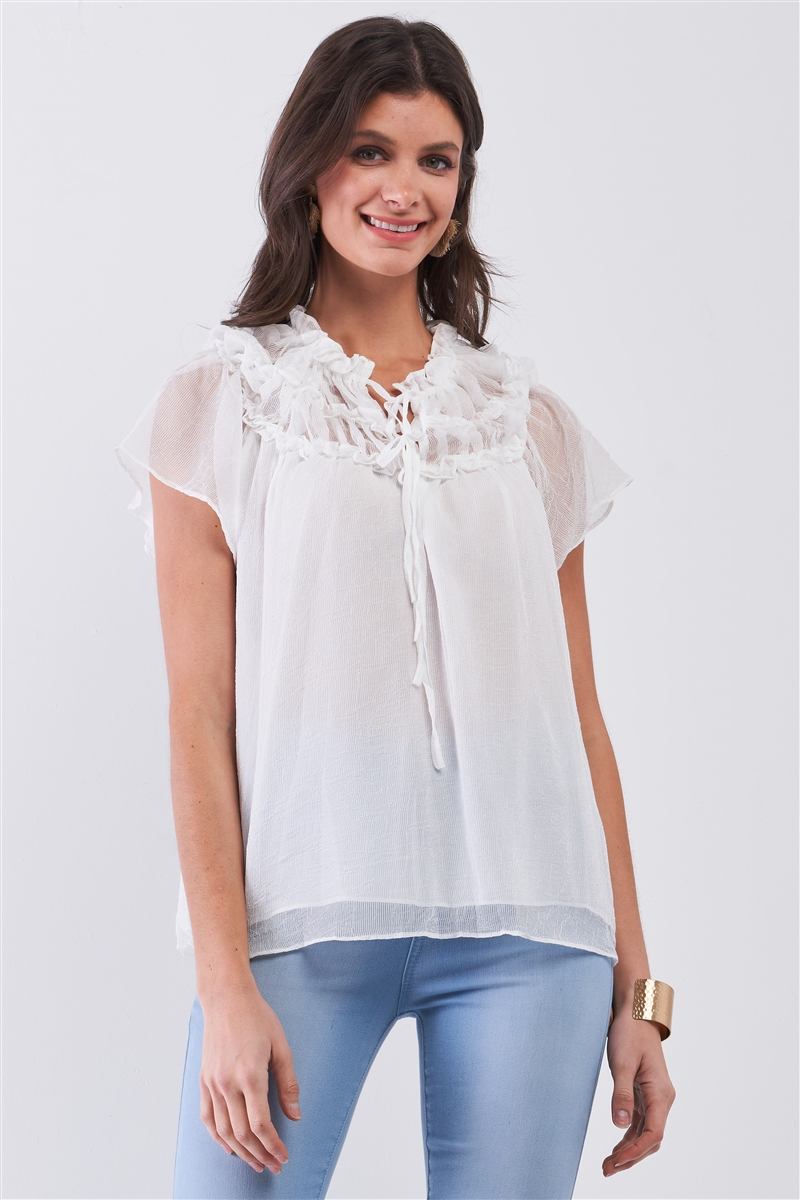 White Short Angel Sleeve Ruffle Top With Double Self-Tie Drawstring Elasticated Round Neck Loose Fit Top /3-2-1