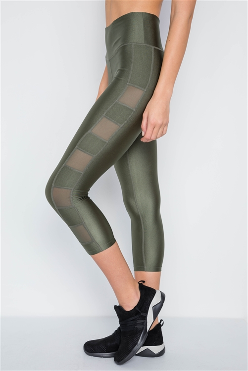 Olive Phone Pocket Capri Mash Detail Active Leggings