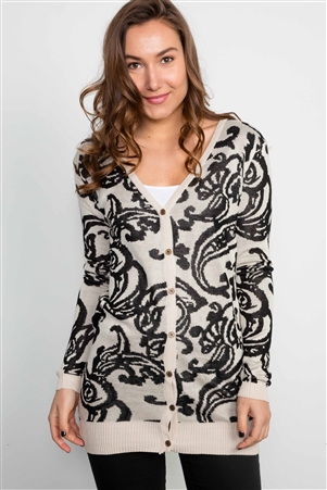 Ivory Paisley Button Down Cardigan