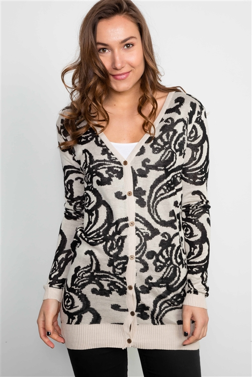 Ivory & Black Paisley Button Down Cardigan