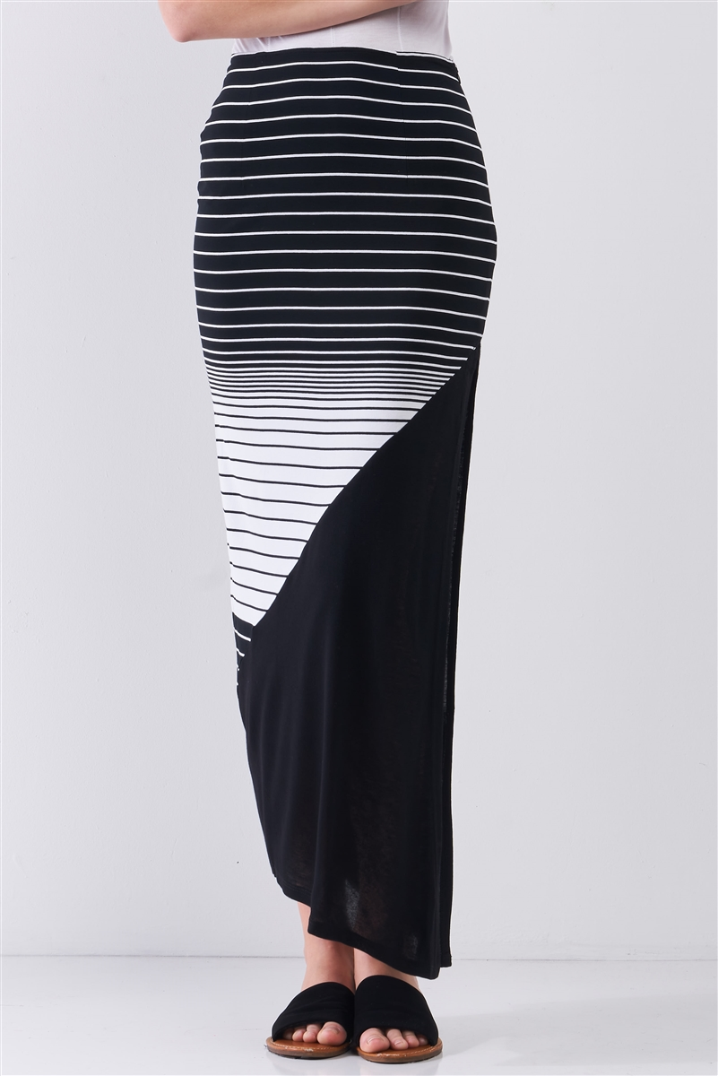 So Noir Black & White Gradient Multi Stripe High Waist Side Slit Detail Maxi Skirt /1-2-2