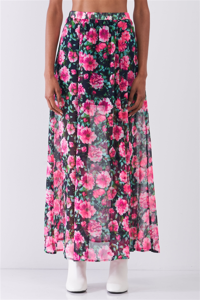 Pink Gardenia Floral Print High Waist Semi-Sheer Maxi Skirt /1-2-2-1